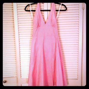 👗NEW👗EUC Baby pink polka dot pin-up halter dress